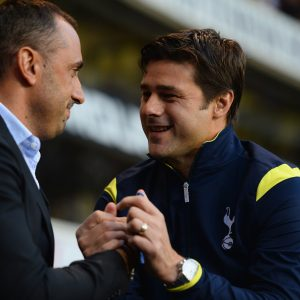 LONDON, ENGLAND - AUGUST 28:  Head Coach Ivaylo Petev Of AEL Limassol Shakes Hands With Mauricio Pochettino The Spurs Manager During The UEFA Europa League Qualifying Play-Offs Round Second Leg Match Between Tottenham Hotspur And AEL Limassol FC On August 28, 2014 In London, United Kingdom.  (Photo By Jamie McDonald/Getty Images)